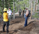 Lander-Sinks-Brewers-Trail-062918-14-Wyoming-Conservation-Corps-on-Brewers-with-FS-staff