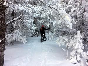 Fat biking in the Happy Jack near Laramie, WY
