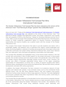 APD + Wyoming Pathways Press Release - Greater Yellowstone Trail Concept Plan